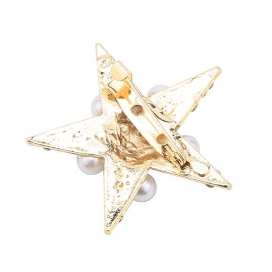 Altın Renk İncili Yıldız Broş