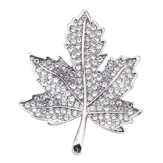 Gümüş Renk Yaprak Broş